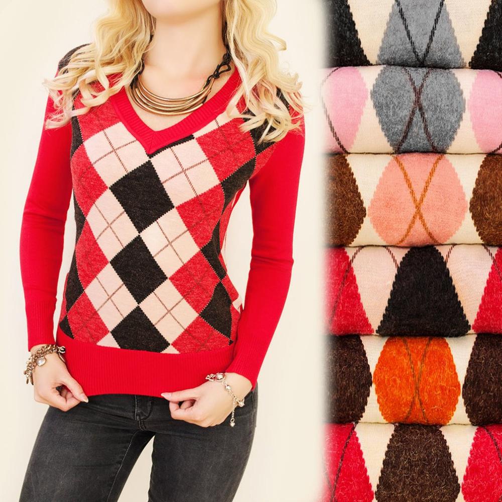 various colors e4e2e 82da0 Details zu Damen Pullover Wolle Feinstrick Karomuster Rauten Shirt Langarm  S M L