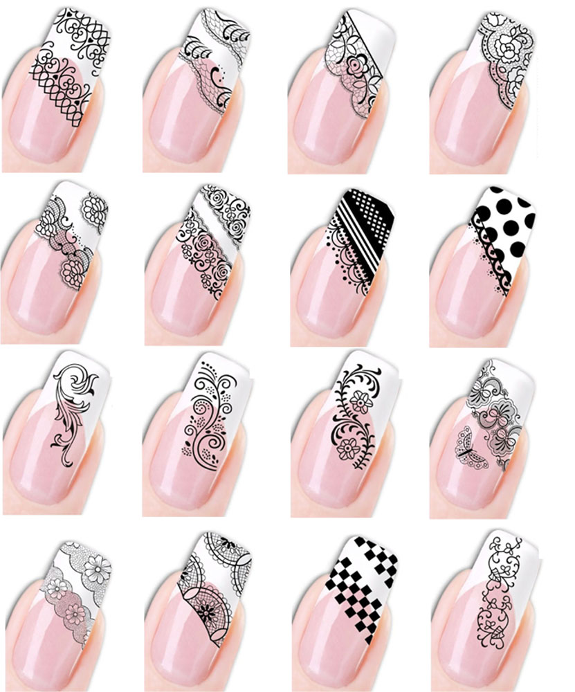 nagel sticker nail tattoo fingern gel aufkleber ornamente ranken muster schwarz ebay. Black Bedroom Furniture Sets. Home Design Ideas